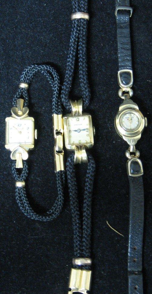 4018: Three 14k Gold Case Lady's Wrist Watches, Manufac