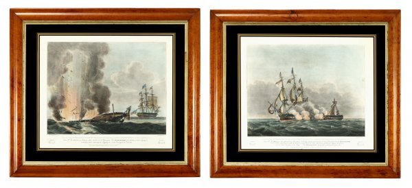 1: Two framed colored engravings of The Java and The Co