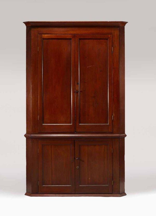 2: Pine corner cabinet, 19th century, With molded corni