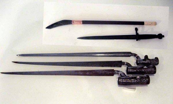 6: Three World War I steel bayonets, , Together with a