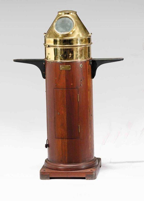 7: Brass hooded and gimbaled binnacle, calvin & wilfrid