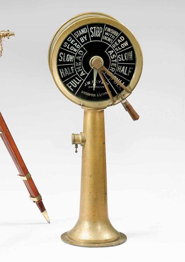 8: Ship's brass pedestal mounted telegraph, j.w. ray &