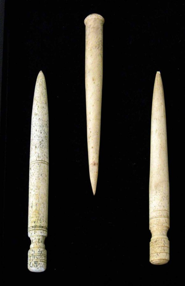 35: Group of three turned bone fids, probably new engla