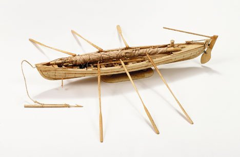 39A: Bone model of a whale boat, , Complete with sails,