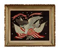 57 Asian export patriotic silk embroidered picture ea