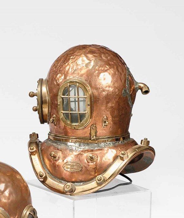 78: Brass and copper diving helmet, a.j. morris & co.,