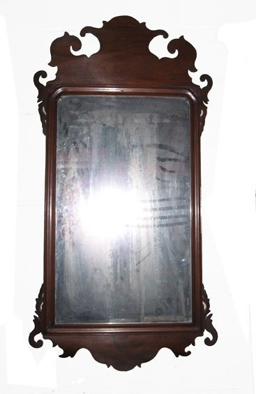 213: Large Chippendale mahogany looking glass, 19th cen
