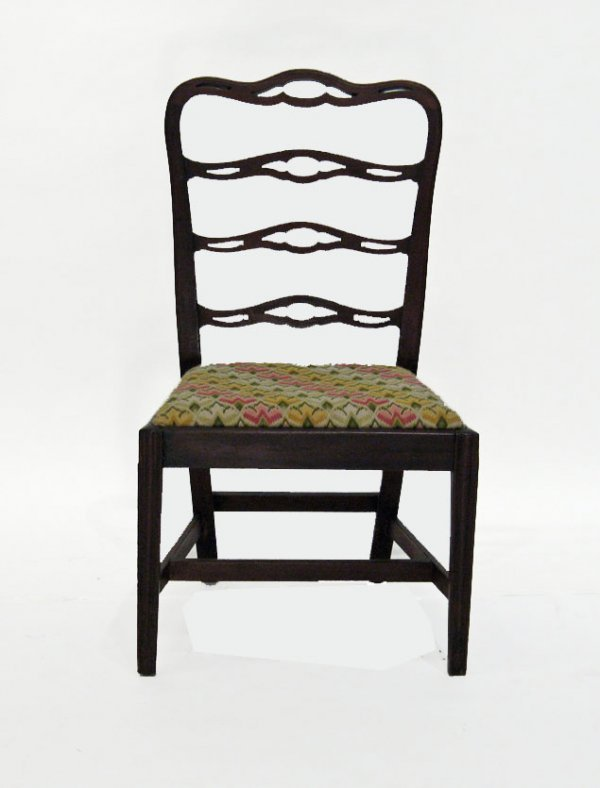 218: Chippendale mahogany ribbon back side chair, phila