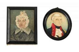 339: American School 19th century, two miniature portra