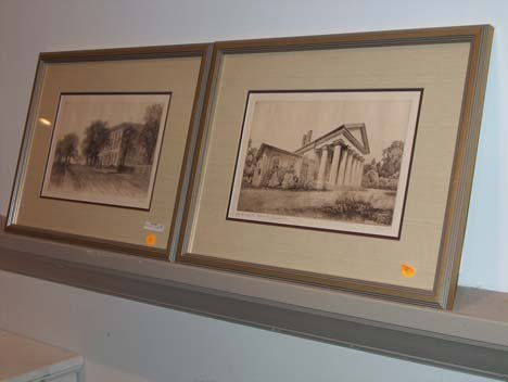 3025: PAIR OF FRAMED ETCHINGS, , Featuring the house of