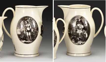 1002: LIverpool creamware commemorative pitcher, early