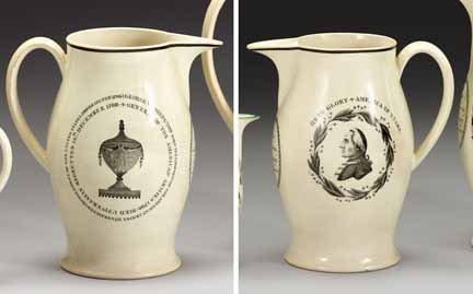 1007: Transfer decorated commemorative creamware pitche