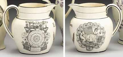 1010: Liverpool creamware commemorative pitcher, early