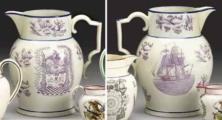 1011: Large magenta transfer-printed pearlware pitcher,