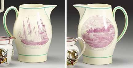 1013: Magenta transfer-printed pitcher, early 19th cent
