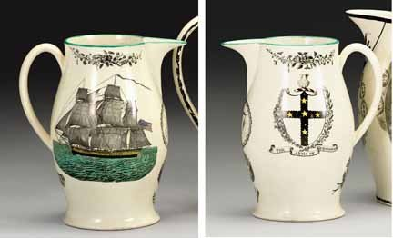 1014: Liverpool creamware black transfer and polychrome