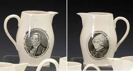 1019: Small reproduction black transfer-printed pitcher