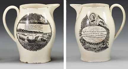 1024: Black transfer-decorated creamware pitcher, , Of