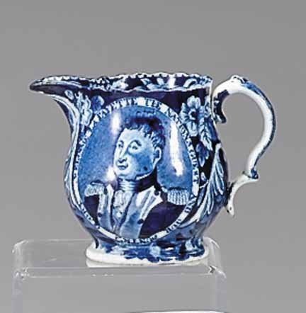 1142: Historical blue transferware creamer, james and r