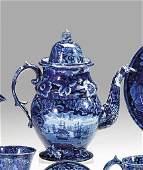 1153: Historical blue transferware coffeepot, enoch woo