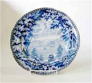 1160 Historical blue transferware plate unknown maker