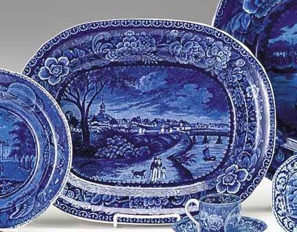1208: Historical blue transferware platter, unknown mak