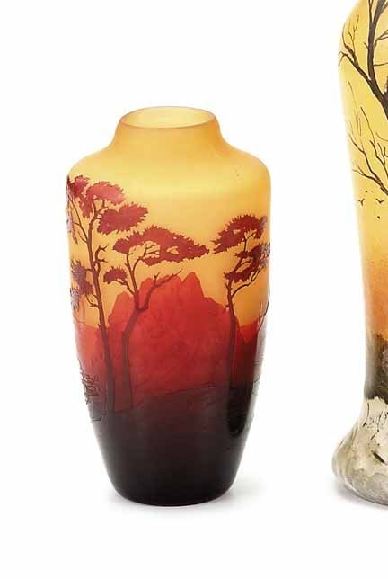 2008: D'ARGENTAL, (FRENCH), Cameo glass scenic vase - 2