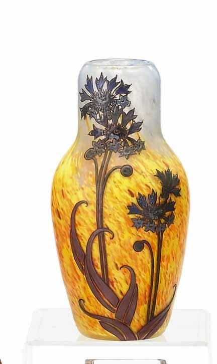 2015: LEGRAS, (FRENCH), Enameled glass vase