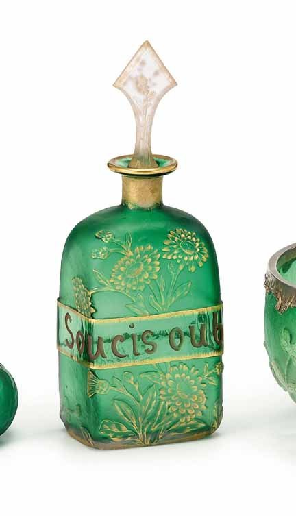 2022: DAUM NANCY, (FRENCH), Acid-etched decanter and st