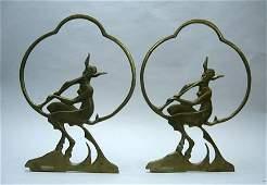 2193 Pair of Art Deco gilt bronze figural bookends mi