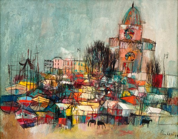 3020: NICOLA SIMBARI, (ITALIAN B. 1927), MARKET ON THE