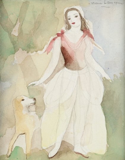 3024: MARIE LAURENCIN, (FRENCH 1883-1956), JEUNE FEMME