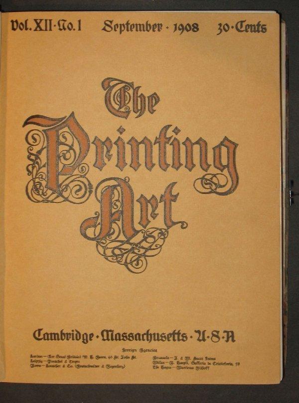 6: 1 vol. The Printing Art. Cambridge, Mass., Sept. 190
