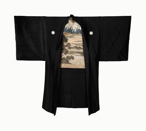 1001: Two kimono Mt Fuji embroidery