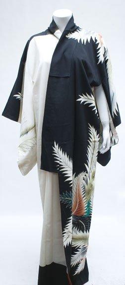 1003: Silk kimono, 20th century, White and black backgr
