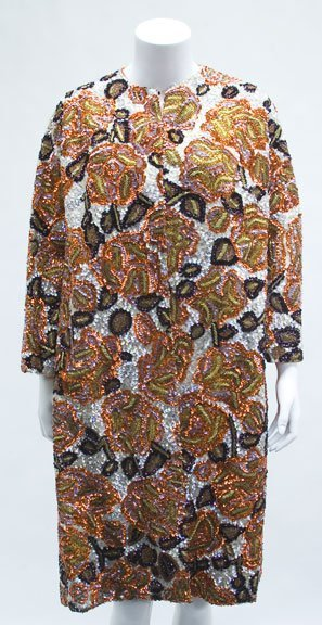1006: Two bead encrusted opera coats, 1960s, One with a