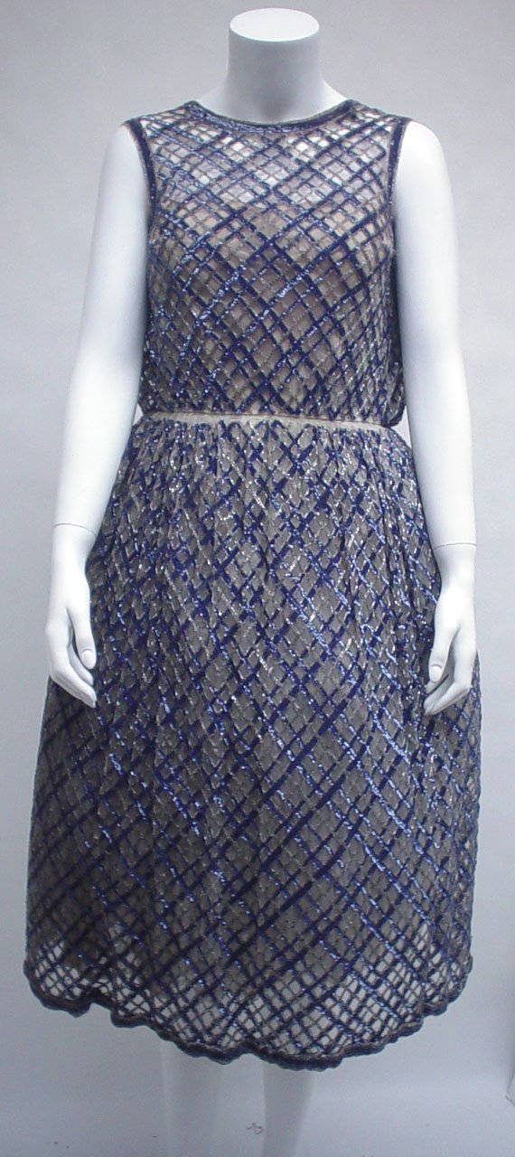 1007: Bob Bugnand sequined tulle party dress, 1960s, Sc