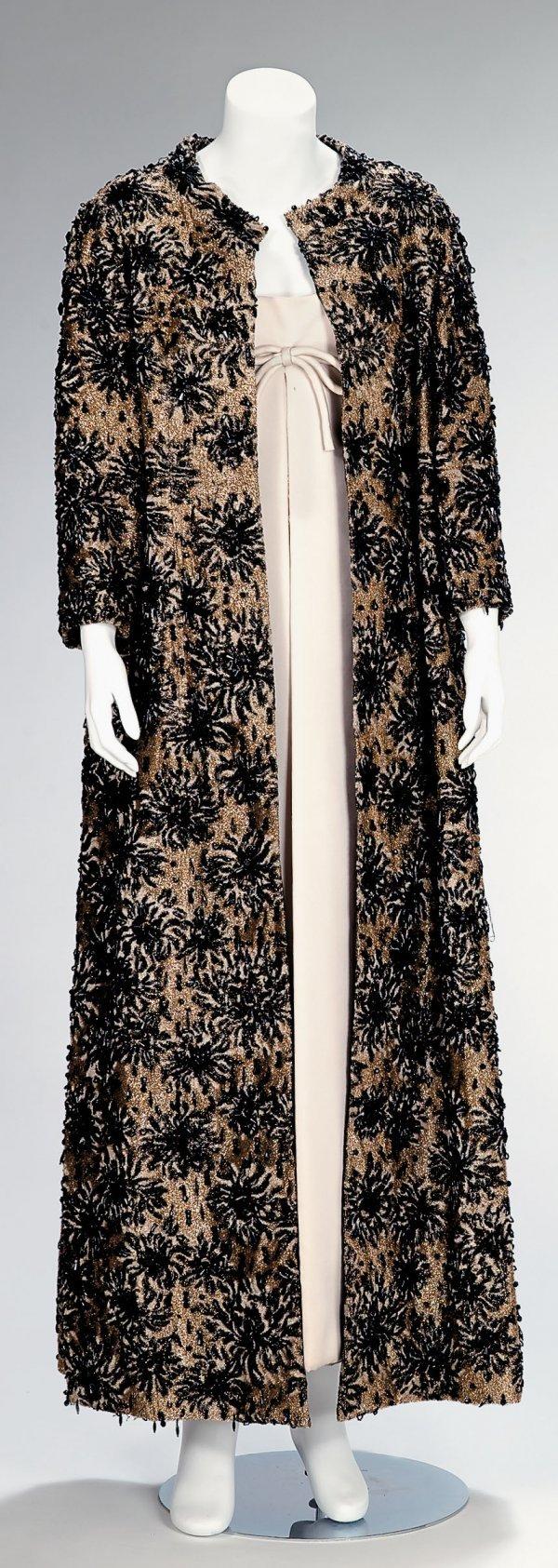 1011: Guy Laroche gold lamé velvet and jet beaded coat