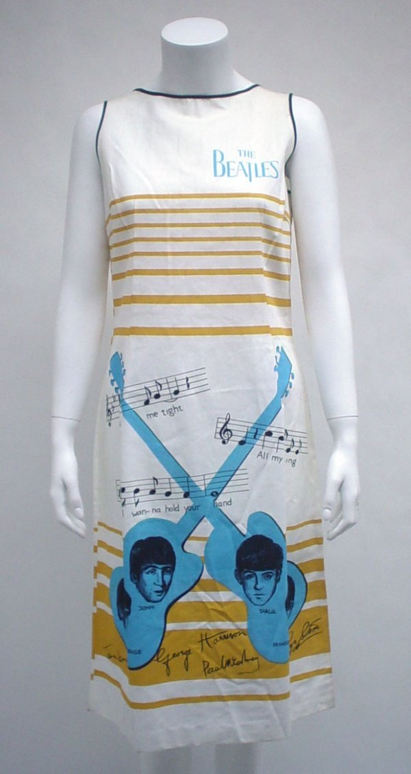 "1012: Novelty cotton The Beatles"" dress, holland, 1960s"