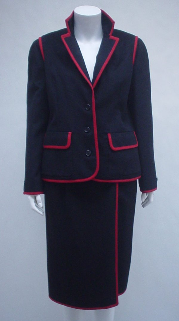 1013: Nina Ricci black and red skirt suit, 1970s, Class