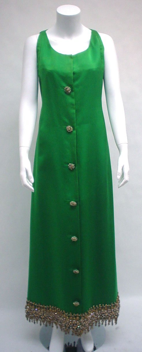 1015: Christian Dior kelly green silk gown and shawl, 1