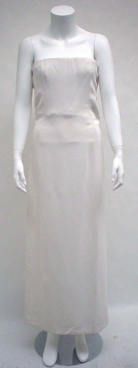 1016: Guy Laroche white crepe jersey strapless column g