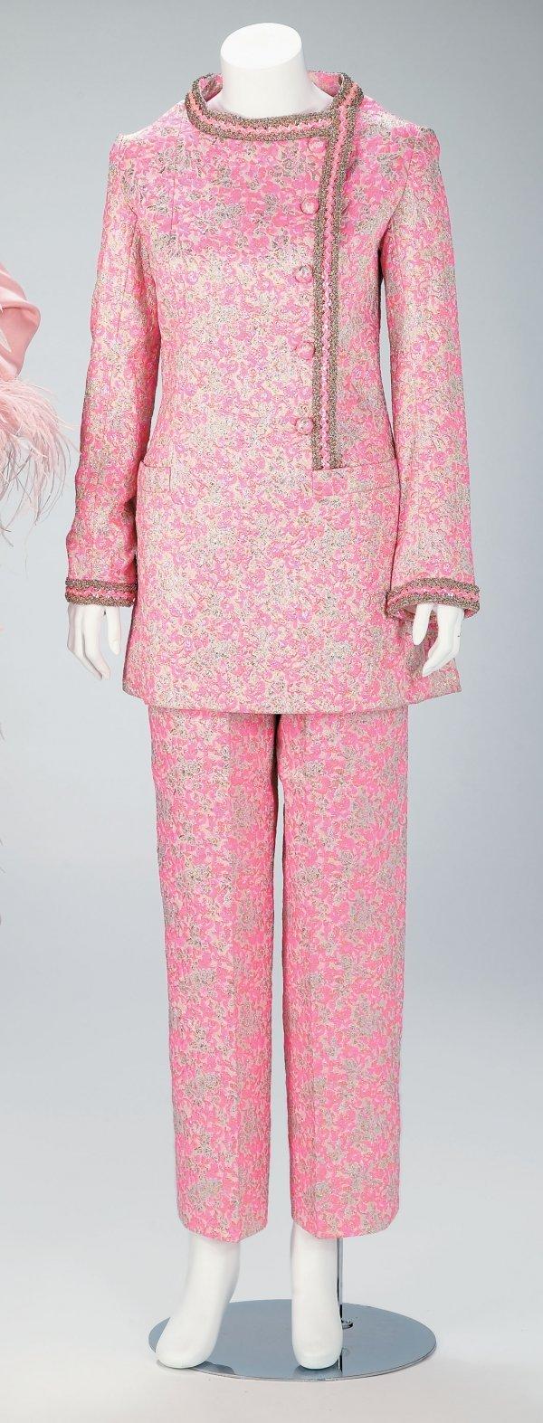 1017: Jean Patou pink metallic brocade tunic and pants,