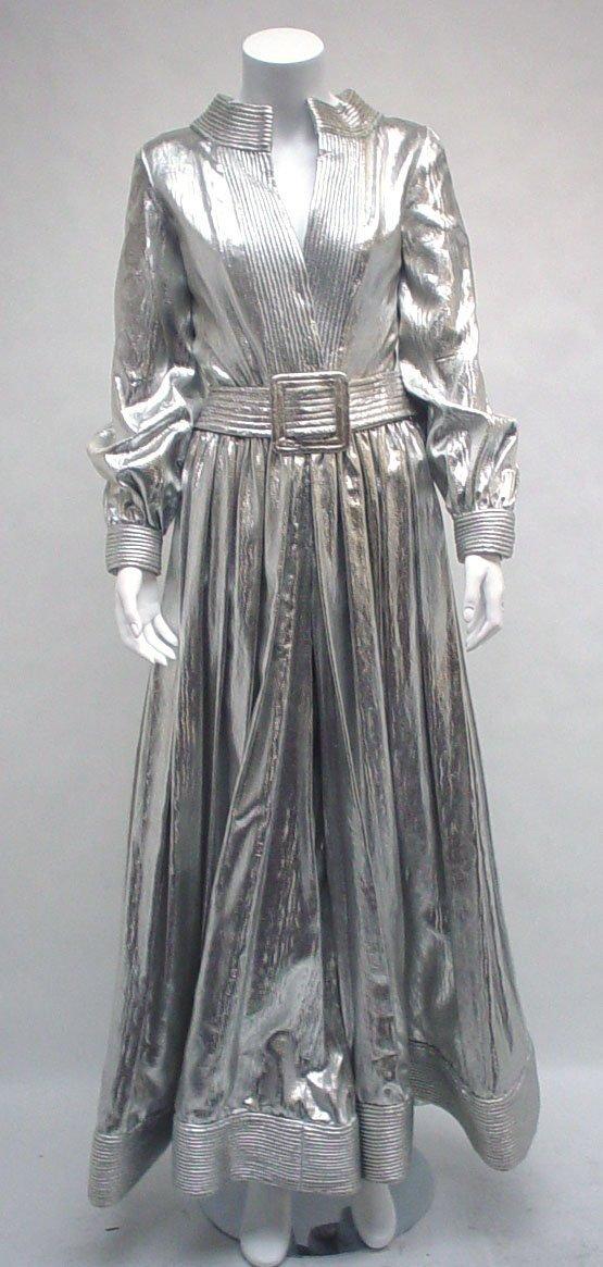 1018: Donald Brooks silver lamé jumpsuit, 1970s, Long s