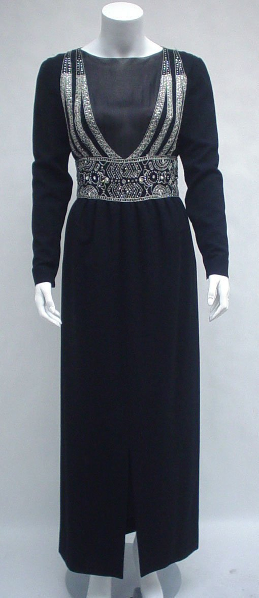 1019: Black chiffon and crepe jeweled evening gown attr