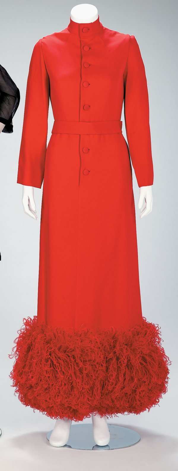 1020: Norman Norell red silk evening dress with ostrich