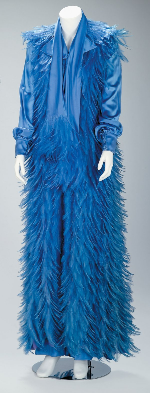 1023: Guy Laroche periwinkle silk and feathered evening