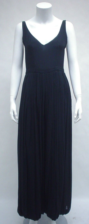 1024: Guy Laroche black silk pantaloon dress, 1970s, Ca