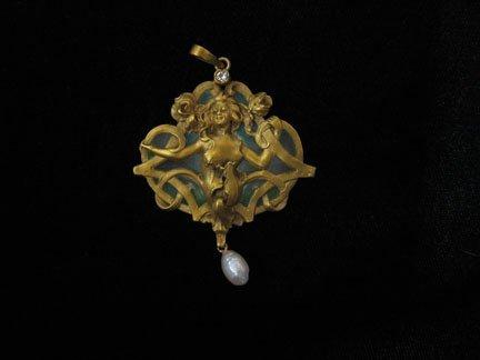 1351: Art Nouveau pendant, , Unusual, Art Nouveau penda