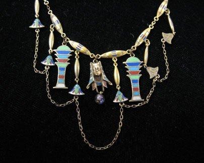 1352: Egyptian Revival enamel and gold necklace, circa